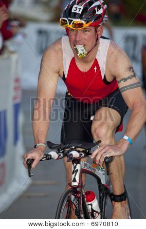 Competitor Racing In Arizona Ironman   Triathlon