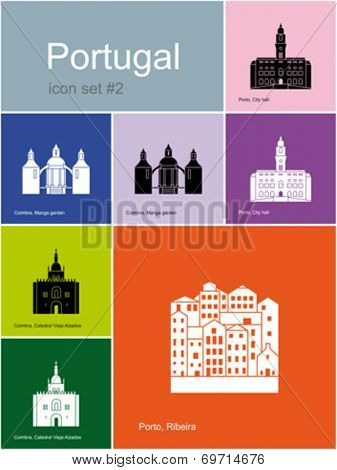 Landmarks of Portugal. Set of color icons in Metro style. Editable vector illustration.