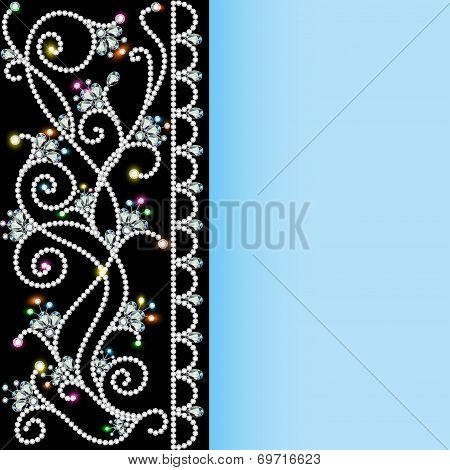 illustration background with a pattern of precious stones and flowers poster