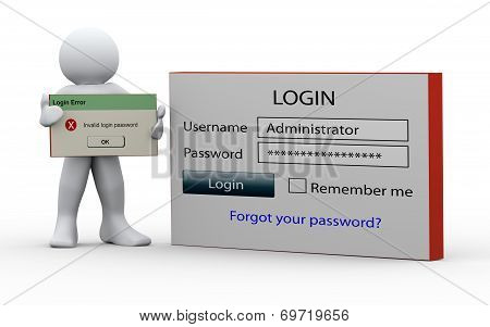3D Man Holding Invalid Login Message
