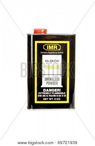 Hayward, CA - August 7, 2014: 8Oz can of IMR HI-SKOR 700-X smokeless powder