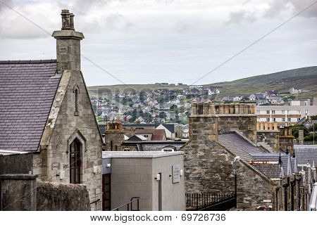 Lerwick Shetland Scotland United Kingdom.View of Old Lerwick in front new Lerwick in back. poster
