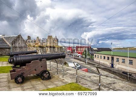 Two Cannon At Fort Charlotte, Lerwick, Shetland, Scotland