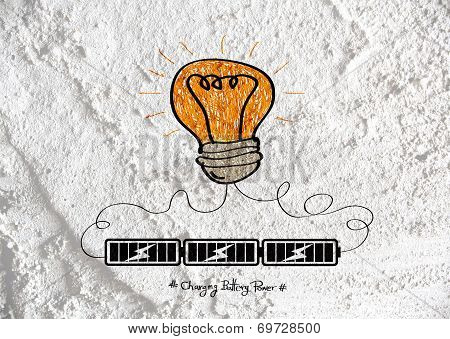 idea Light bulb icon on Cement wall texture background design poster