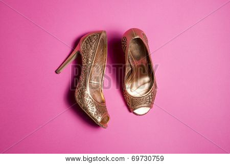 Woman Shoes On Pink Background
