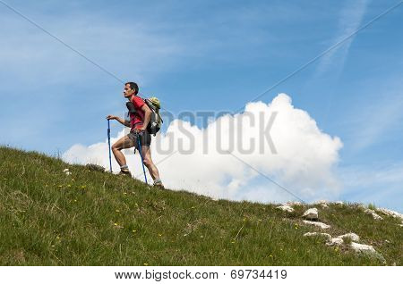 Man trekking in the Apuan Alps in a beautiful sunny day poster