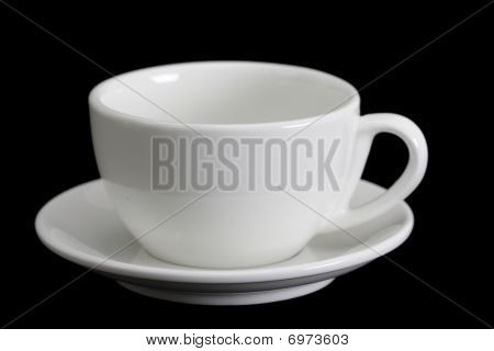 White Cup On Black Background