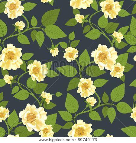 Wild Roses Retro Pattern