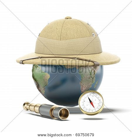 Pith helmet on earth globe. map provided by NASA