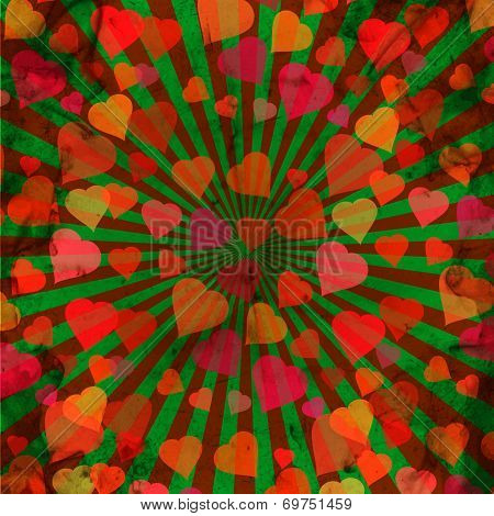 abstract grunge background with hearts. space for your text
