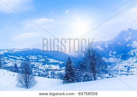 Winter Mountains.  Sun Shine In Blue Sky