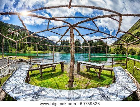 Summerhouse Near Mountain Lake