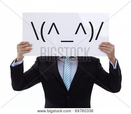 Portrait Of A Funny Hurrah! Businessman