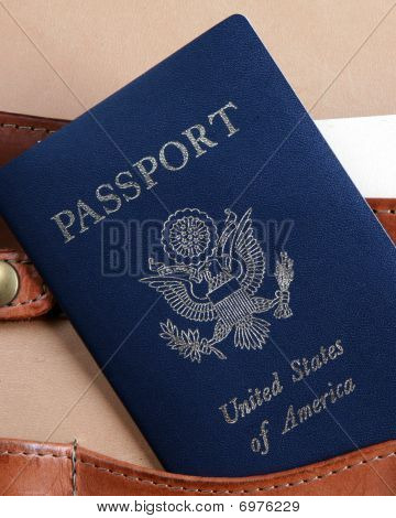 Passport In A Leather Briefcase -  Vertical