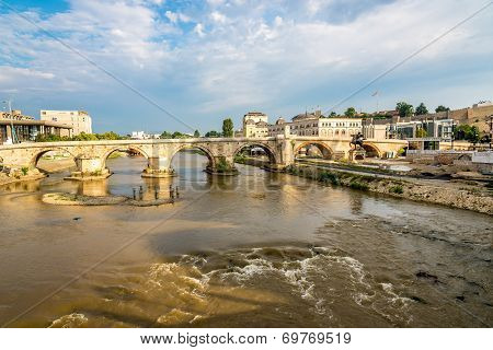 River Vardar With Old Bridge