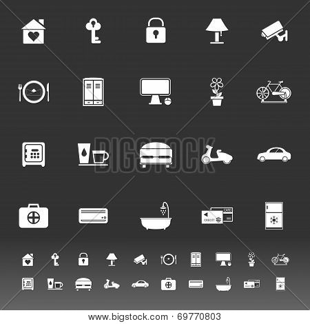 General Home Stay Icons On Gray Background