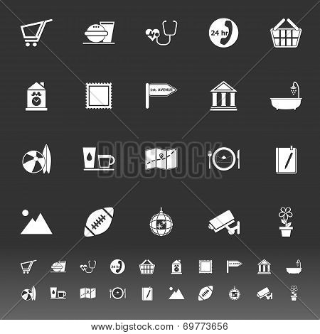 Public Place Sign Icons On Gray Background