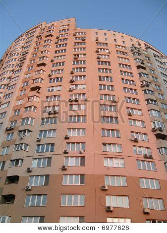 New Urban High Red Building, Satellites, Blue Sky, Sunset