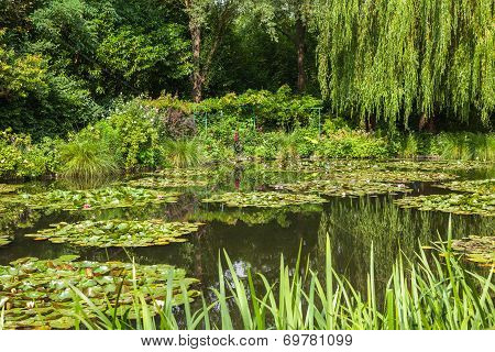 View of the garden in Giverny, France , where Claude Monet lived and created for long years. poster