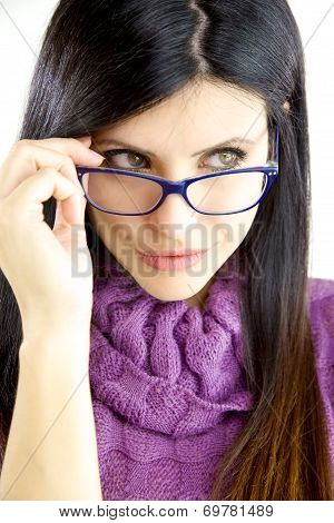 Beautiful Woman With Blue Glasses Looking