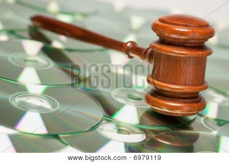 Cd Rom Or Dvd Discs And Gavel