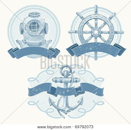 Nautical emblems with hand drawn elements - old diving helmet, ship steering wheel and anchor
