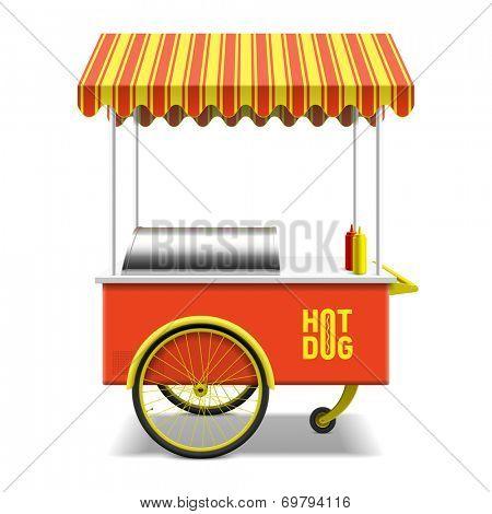 Hot dog, street cart. Vector.