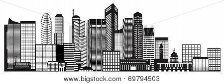 Singapore City Skyline Black And White Illustration