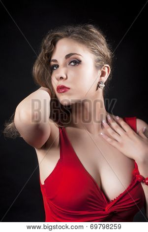 Attractive Sexy  Young Woman In Red Dress
