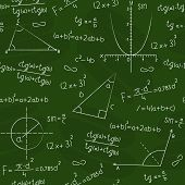 Seamless background in the form of a school board with a geometric figures and formulas poster