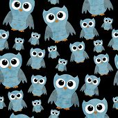 Blue Owls on Black Textured Fabric Pattern Background that is seamless and repeats poster