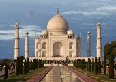 The Taj Mahal is a mausoleum located in Agra India built by Mughal Emperor Shah Jahan in memory of his favorite wife Mumtaz Mahal poster