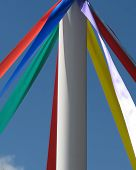 Closeup of taditional May pole with coloured ribbons poster