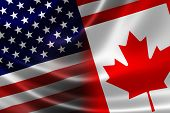 3D rendering of a merged Canadian-USA flag on satin texture. Concept of the mutually influential relations between the two countries politically and economically. poster