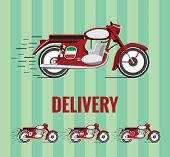 Vector resizable drawing of a motorcycle from 1960`s on green background. Comes in 4 national versions. Flag can be easily transformed into plain red. poster