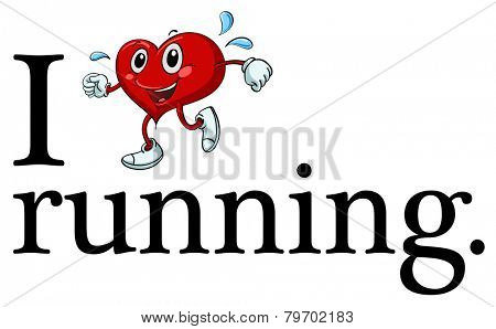 Illustration of i love running sign
