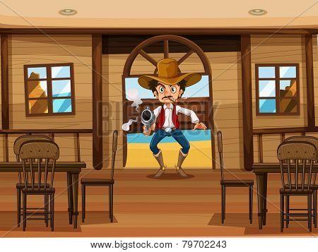 Illustration of a cowboy shooting gun in a restaurant