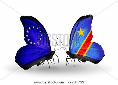 Two Butterflies With Flags On Wings As Symbol Of Relations Eu And Kongo