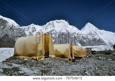 Basecamp On Glacier In Kyrgyzstan