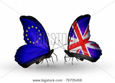 Two Butterflies With Flags On Wings As Symbol Of Relations Eu And  Uk