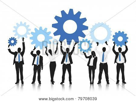Bisness people holding gear vector