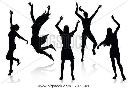 Happy active women silhouettes