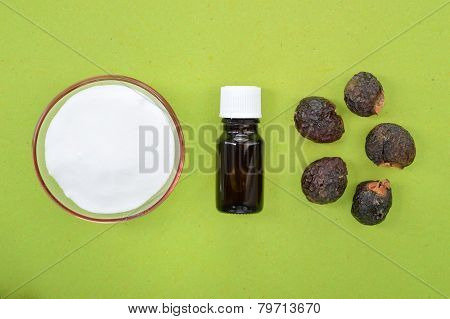 Natural Detergents Soap Nuts And Baking Soda.