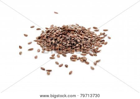 Pile Of Flaxseeds Isolated On White Background.