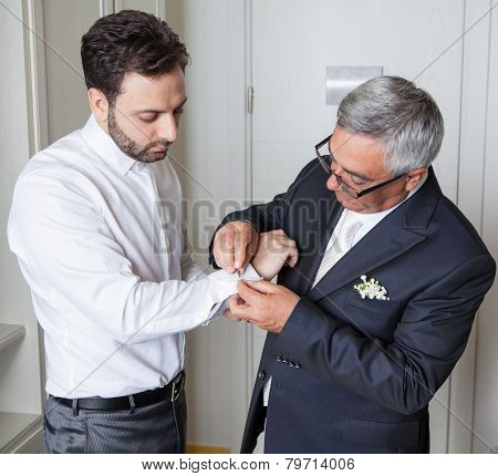 Young Italian Groom With His Father