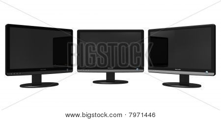 Panoramic TFT display isolated over white background poster