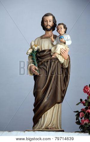 KOLKATA, INDIA - FEBRUARY 11:Saint Joseph holding baby Jesus, Shishu Bhavan, one of the houses established by Mother Teresa and run by the Missionaries of Charity in Kolkata,India on February 11,2014.