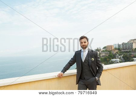 Young Italian Groom Before Marriage In Sorrento Peninsula.