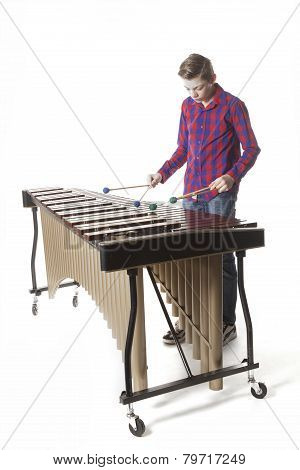 Teenage Boy Playing Marimba In Studio