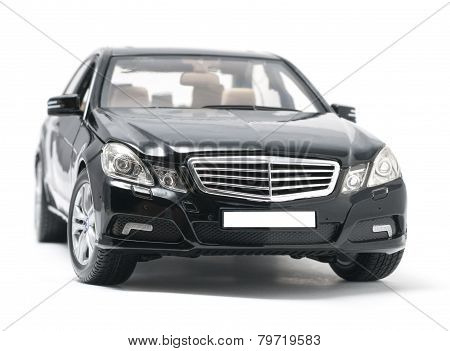 Front View Of Black Luxury Car Isolated On White